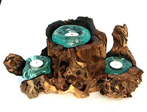 Geschenk Deko Gamal Wurzelholz Dreier Teelichthalter Wurzel Holz Glas Teelicht 3