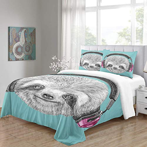 Simproude Quilt Duvet Cover and Two Pillowcases Ultra Soft Hypoallergenic Microfiber Bedding Set 3 pcs with Zipper Closure - sloth