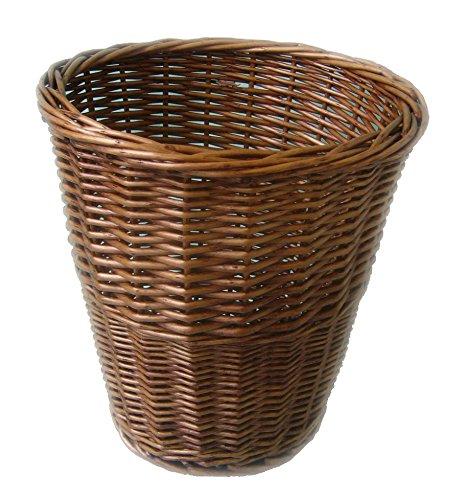 Home-Decor Natural Wicker Seagrass Water Hyacinth Wastepaper Basket Bin Round Square (Honey Wicker Round)