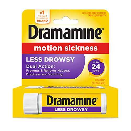 Dramamine Motion Sickness Less Drowsy, Travel Vial, 8 Count