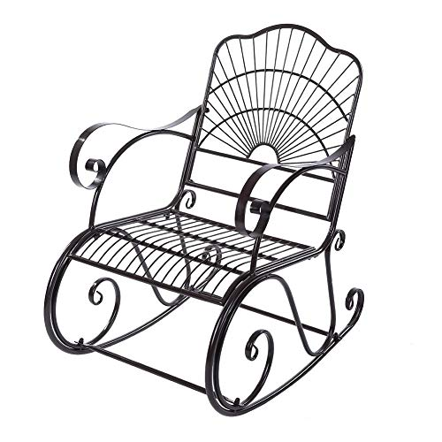 EBTOOLS Rocking Chair,Antique Outdoor Patio Scroll Porch Iron Rocking Rocker Chair Deck Seat Single Chair Lounger Relaxing Seating Leisure Lounging for Patio Backyard Park, 104x89x61cm