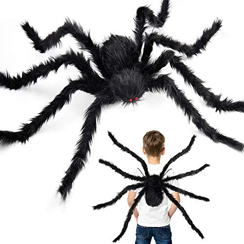 D-FantiX Halloween Giant Spider Decorations, 59 Inch Large Black Spider Legs for Kids Boys Fake Realistic Hairy Spider Backpack Indoor Outdoor Yard Party Halloween Decor