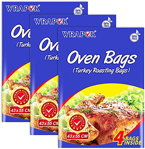 WRAPOK Oven Cooking Bags Baking Turkey Roasting Bags For Chicken Meat Ham Fish Seafood Vegetable - 12 Bags