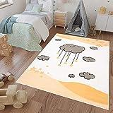 Tapiso Luna Kids Alfombra Cuarto de Niños Sala de Juegos Estilo Moderno Crema Gris Amarillo Nube Estrella 200 x 300 cm
