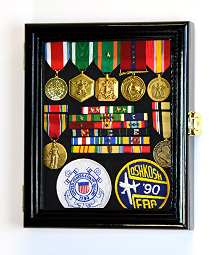 XS Military Pin Display Case Cabinet Box for Medals Pins Patches Insignia Ribbons w/98% UV Lockable -Black