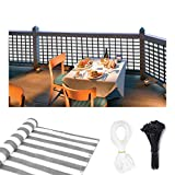 CCNTSW 3 x 16.5 Feet Balcony Privacy Screen Cover with 35pcs Cable Ties and PE Cord for Apartment Weather-Resistant Mesh Patio Fence Privacy Screen Outdoor White&Gray