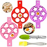 5 Stück Silikon Omelettform Kochen Antihaft-Spiegelei Form,Spiegelei-Ringe mit Pinsel und Clip für DIY-Ei oder Cupcake