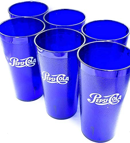 Pepsi Cola Blue Plastic Tumblers Cups 24-Ounce Restaurant Grade Cups, Set of 6