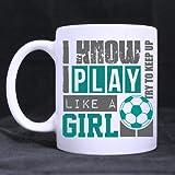 Cute Soccer 'Sé que juego como una niña' Office/Home/Shop Best Gift/Self Use Choice Gift for Christmas/New Year/Birthday