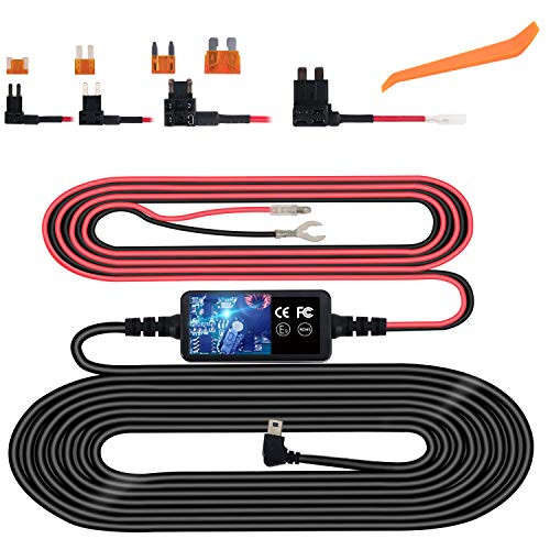 Dash Cam Hardwire Kit, Micro USB Hard Wire Kit for Dashcam, Plozoe 12V-30V to 5V Car Dash Camera Charger Power Cord, Gift 4 Fuse Tap Cable and Installation Tool(11.5ft)