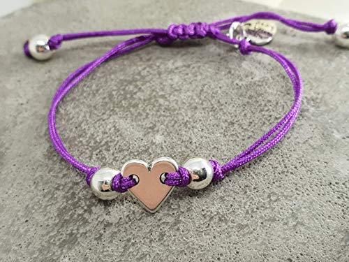 Herz Armband, Armband lila, Armband mit Hämatit, Makrameearmband purple, Geschenk für liebe Freundin
