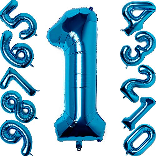40 inches Number Balloons Blue Number Helium Foil Birthday Party Decorations Digit Balloons