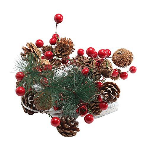 1 Stück Chrismas Kranz Front Tür Künstliche Realistische Natürliche Natur Verzweigen Kiefer Weihnachtskranz Led Licht String Mit Batteriebetriebene Tür Hängende Dekoration