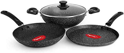 Pigeon granito 4Piece non stick cookware with induction base gift set - Black
