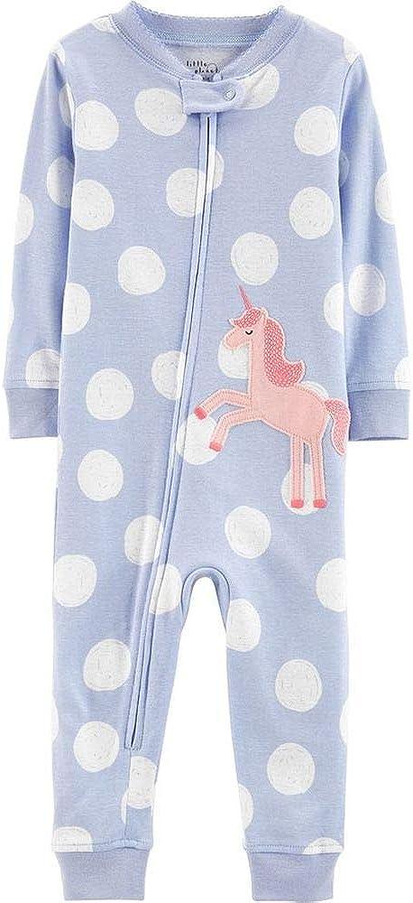 Periwinkle Polka Dot Unicorn Pajama Sleeper, Toddler Girls