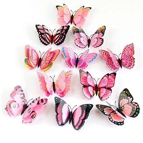 Stickers Muraux de Papillons 3D DIY Autocollants Décoration Murale Amovible Réutilisable pour Chambre Salon Décoration Murale Stickers Mural Autocollant Muraux Stickers Muraux Chambre Fille WINJIN