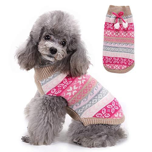 Suter De Punto para Perro Mascota, Abrigo Suave Y Clido para Perros De Invierno, Ropa Cmoda De Invierno para Mascotas,Rosado,M