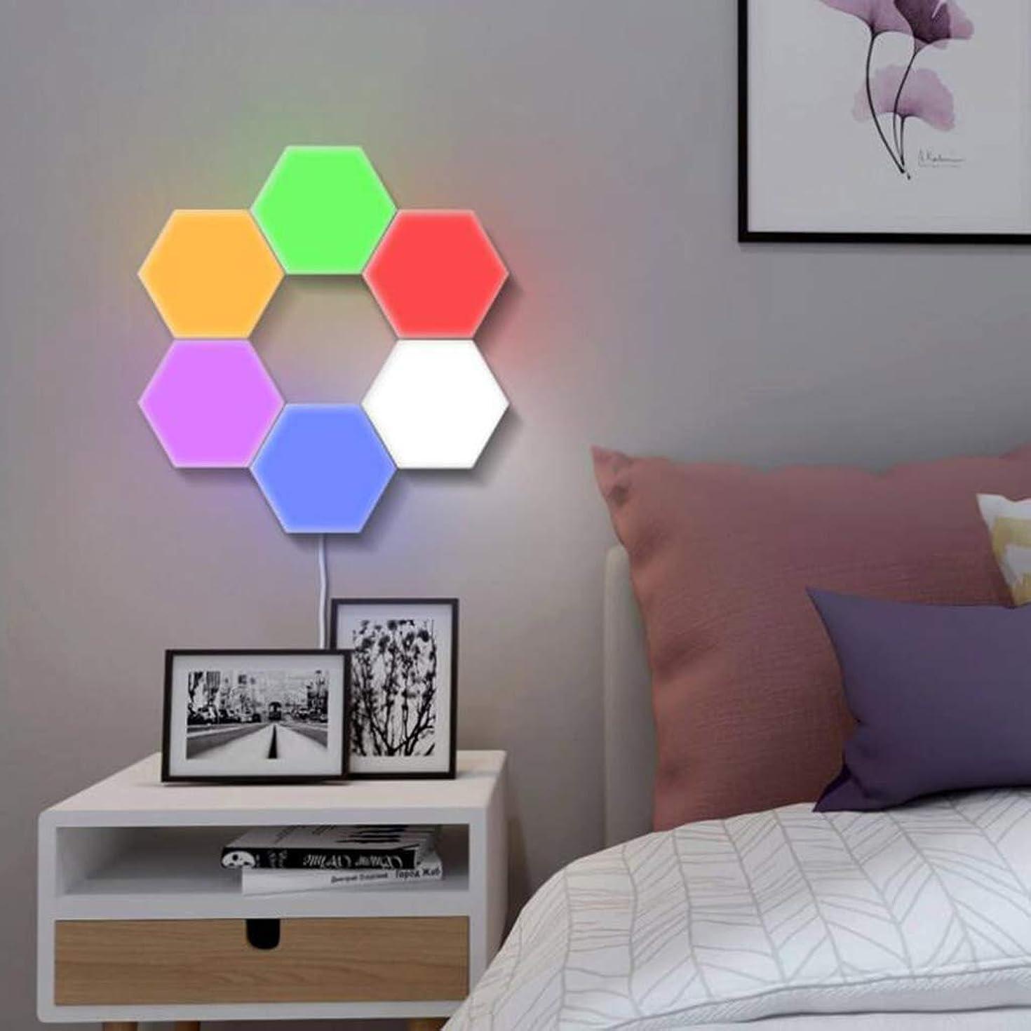 期待してファンネルウェブスパイダーロンドン色RGB六角形の壁ライトLEDの寝室の夜ライトDIYのモジュラータッチ敏感な量子ランプ多機能の知性の創造的な装飾の壁,紫色,5PCS