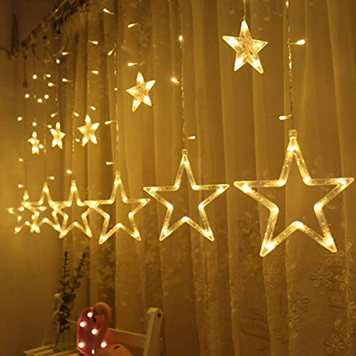 Queta Lichterkette Sternen Lichtervorhang Led Vorhang Lichter Sternenvorhang mit 8 Lichtermodi als Weihnachten oder Party Festen Deko Lichterkette für Innen & Außen (Warmweiß(Batterie Angetrieben))