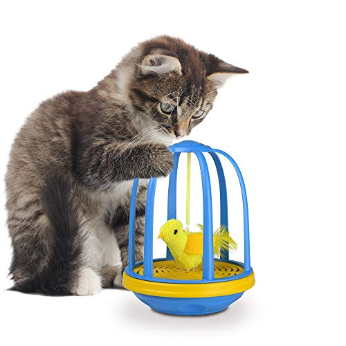 Our Pets Bird in a Cage Electronic Spin Cat Toy
