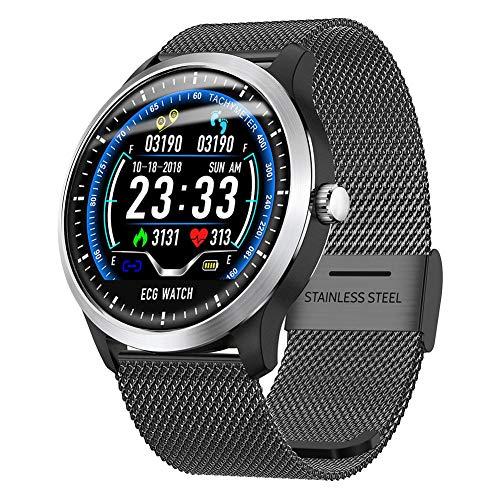 Rejoicing N58 Smartwatch Bluetooth Fitness Armband Watch, EKG Sport Watch IP67 Wasserdicht, EKG + PPG Smart Armbänder für HRV-Anzeige Herzfrequenz Blutdrucktest - Schwarz Smartwatch