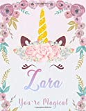 Zara: Personalized Unicorn Sketchbook For Girls With Pink Name. Unicorn Sketch Book for Princesses. Perfect Magical Unicorn Gifts for Her as Drawing ... Journal / Workbook to Create & Learn to Draw.