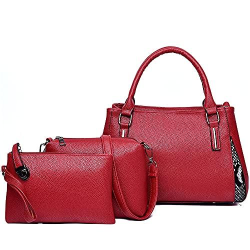Bolsos de las mujeres de cuero de la PU lado serpiente impresión hombro bolsa de mensajero cartera 3 piezas conjunto, color Rojo, talla Talla única
