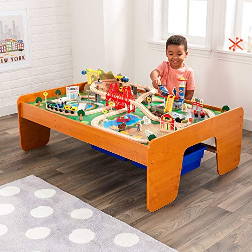 KidKraft Ride Around Town Wooden Train Set and Table with Helicopter, Airplane, Farm, Storage Bins and 100 Pieces, Compatible with Other Major Brand Trains, Honey, Gift for Ages 3+, Amazon Exclusive