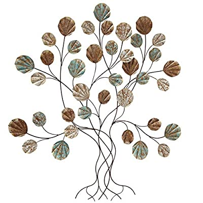 Boho Tree of Life, Wall Art, Rounded Leaves with, Silver Copper, Bronze, Teal Blue Accent Colors, Brown Branches, Artisan Crafted, Lacquered Iron, 33.5 L x 1.5 W x 36.5 H Inches by Whole House Worlds