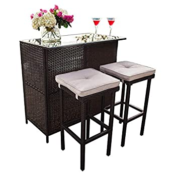SUNCROWN Outdoor Bar Set 3-Piece Brown Wicker Patio Furniture - Glass Bar and Two Stools with Cushions for Patios Backyards Porches Gardens or Poolside