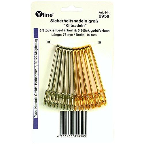 10 Kiltnadeln 76 mm, gold- & silberfarben, Maxi Sicherheitsnadeln groß, Kilt Nadel Nadeln, 2959