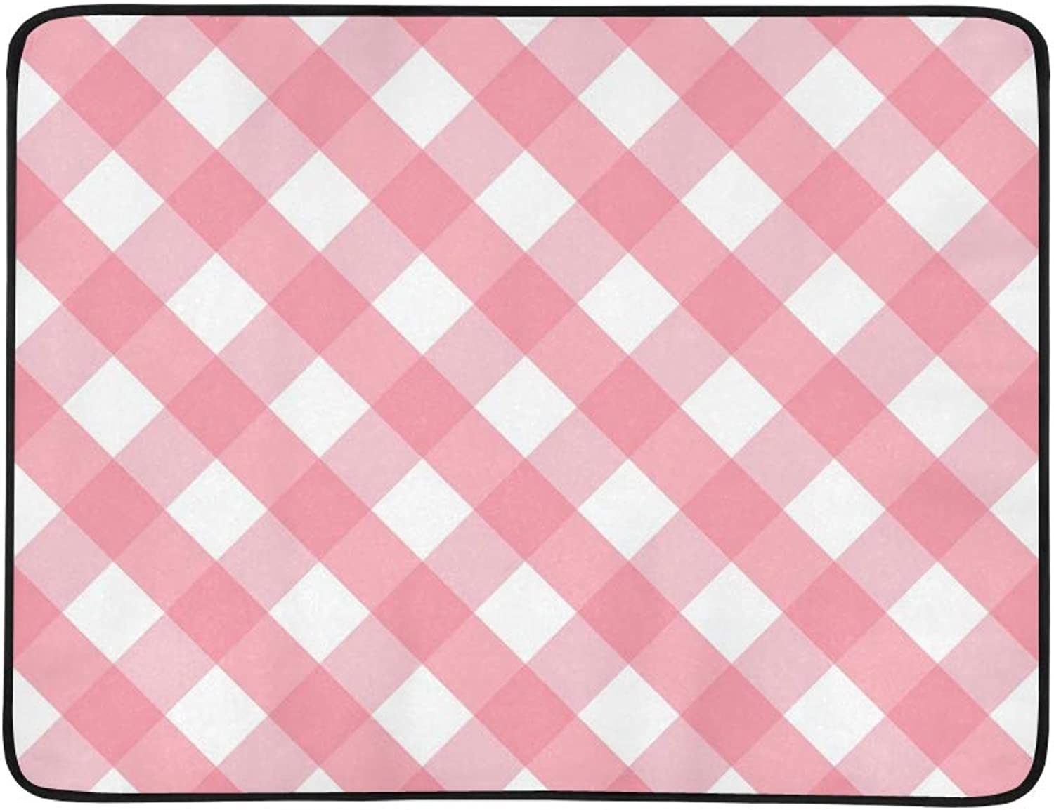 Pink Pink Traditional Gingham Portable and Foldable Blanket Mat 60x78 Inch Handy Mat for Camping Picnic Beach Indoor Outdoor Travel