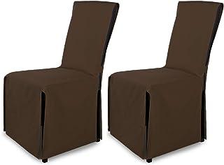 SCHEFFLER-Home Mila 2 Fundas de sillas, Cubierta de Silla con Lazo, Marrón