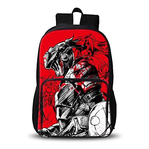 Goblin Slayer School Bag Personalidad Bolsa Senderismo Trekking Mochila Estudiante Ocio Mochila de Gran Capacidad Simple Salvaje morral 3D Tendencia de los Hombres Goblin Slayer Mochila Impermeable