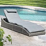 Soleil Jardin Folding Outdoor Adjustable Chaise Lounge Chair with Removable Cushion, Fully Assembled, Patio PE Rattan Reclining Lounger for Pool Beach, Gray
