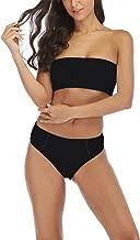 Aimsnug Women's 2 Pieces Bandeau Bikini Set Swimsuits Off Shoulder Removable Strap Wrap Pad High Waist Bathing Suit