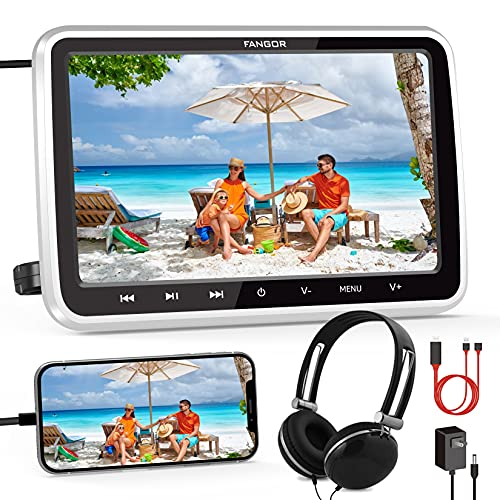 """FANGOR Car DVD Player with HDMI Input/Cable, 1080P Video Support, Headrest Mount, Headphone, Car/Wall Charger(Not Battery Powered), Memory Function, Free Regions, USB/SD Card Reader (10.5"""")"""