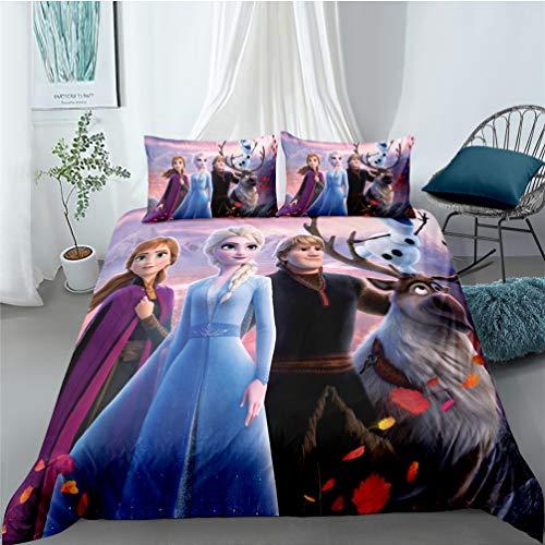 Sjj-RE Frozen 2 - Juego de funda de edredón de microfibra con funda de almohada para niña, niña, modelo Frozen #5,135 x 200 cm