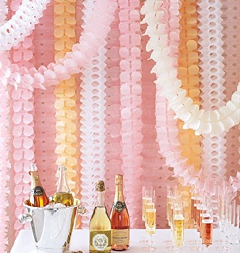BTSD-home Reusable Hanging Garland Four-Leaf Tissue Paper Flower Party Streamers for Christmas Party Wedding Decorations (10 Feet/3M Long Each), Pack of 6