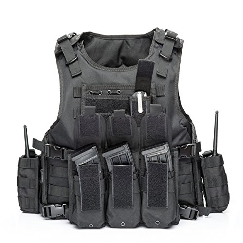 Tactical Vest Military Chest Rig Airsoft Swat Vest for Men(Black-1)