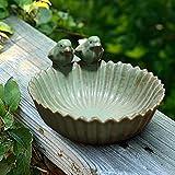 YAOLUU Casita Pajaros Exterior Baños de Nacimiento de cerámica Decoración de jardín Alimentador de Nacimiento Exquisito Acuario de cerámica Acabado Retro Alimentador de Aves Comedero Pajaros Exterior