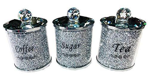 NaisiCore Diamante machacado 1pc té CFEE azúcar Botes jarras de Almacenamiento de Plata Pasamanería de Cristal Lleno
