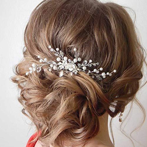 Fairvir Brautschmuck Hochzeit Haarnadeln Silber glitzernde Strass Blume Haarnadel Perle Braut Haarschmuck für Frauen und Mädchen