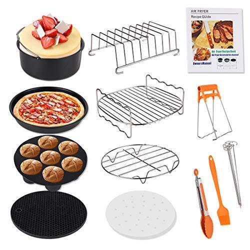 Genround airfryeraccessoires, 12 stuks accessoires voor een airfryer met 20 cm taartvorm, pizzabakplaat, toastrek, voor bakken, koken, barbecueën en frietjes bereiden, taartvorm voor 3,6 l en meer, voor Phillips, Princess of Tristar, met kookboek (mo