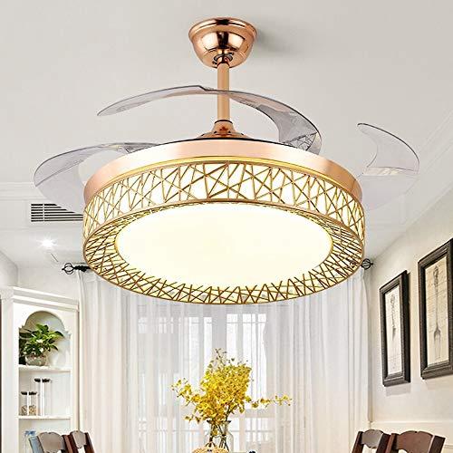 Luces de ventilador de techo, luces de ventilador LED, Iluminación decorativa, Lámpara de ventilador, ventiladores silenciosos, Velocidad ajustable y iluminación de ventilador de tiempo para sala de e