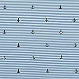 Jersey Streifen und Anker, hellblau (25cm x 145cm)