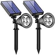 URPOWER Lampes solaires 2-en-1 Solar Powered 4 LED réglable projecteur Mur lumière Paysage lumière vive et Sombre détection Automatique Marche/arrêt de sécurité Night Lights pour Patio Jardin allée