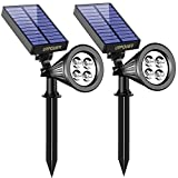 Solar Lights,URPOWER 2-in-1 Waterproof 4 LED Solar Spotlight Adjustable Wall Light Landscape Light Security Lighting Dark Sensing Auto On/Off for Patio Deck Yard Garden Driveway Pool Area(2 Pack)