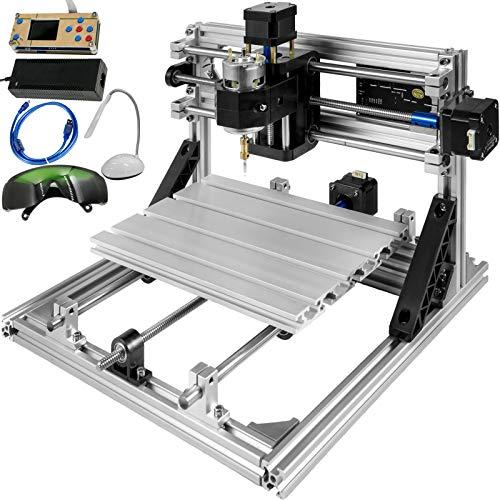 VEVOR Fresatrice CNC Fresatrice a 3 Assi Fresatrice Range di Lavoro Kit Router Router 24x18cm CNC USB e Controllo Offline