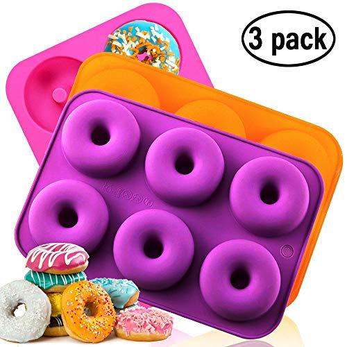 Silikon-Donut-Backform, antihaftbeschichtet, spülmaschinenfest, ofen, mikrowellen, gefriergeeignet, BPA-frei, perfekt geformte Donuts von Amison (3er-Pack)